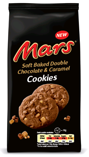Mars soft baked double chocolate & caramel cookies